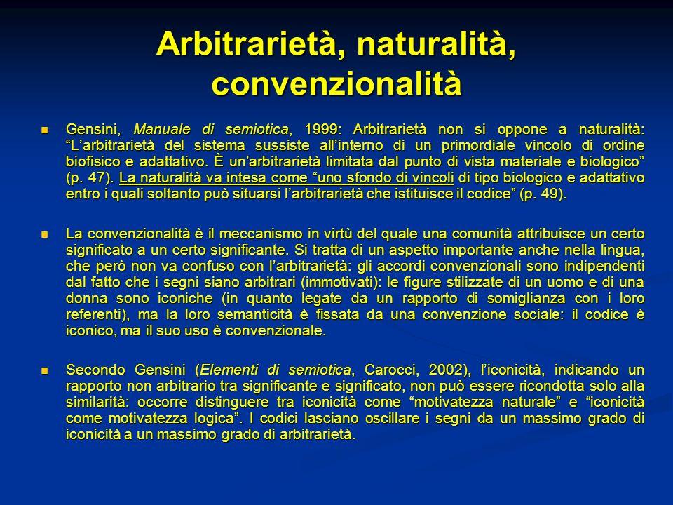 Arbitrarietà, naturalità, convenzionalità Gensini, Manuale di semiotica, 1999: Arbitrarietà non si oppone a naturalità: Larbitrarietà del sistema suss