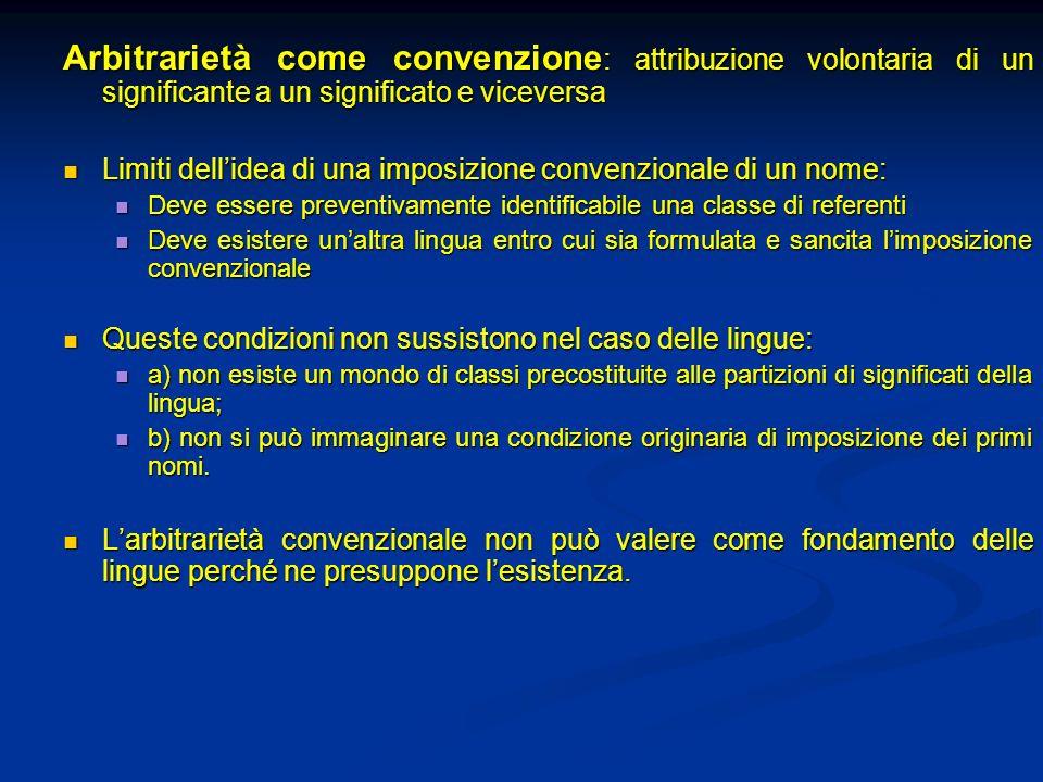 Arbitrarietà come convenzione : attribuzione volontaria di un significante a un significato e viceversa Limiti dellidea di una imposizione convenziona