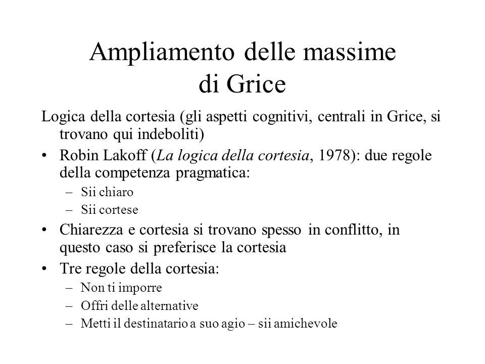 Ampliamento delle massime di Grice Logica della cortesia (gli aspetti cognitivi, centrali in Grice, si trovano qui indeboliti) Robin Lakoff (La logica