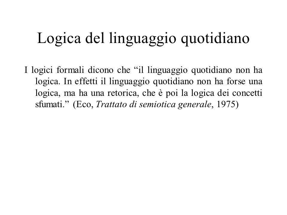 Logica del linguaggio quotidiano I logici formali dicono che il linguaggio quotidiano non ha logica. In effetti il linguaggio quotidiano non ha forse