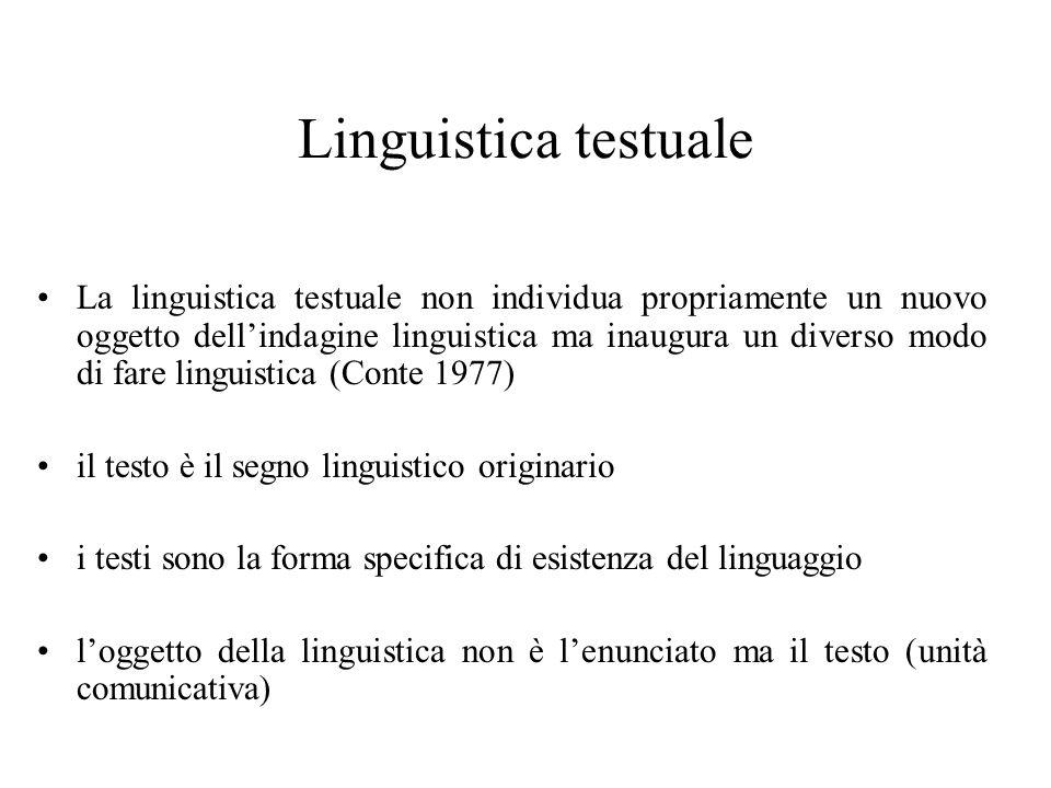 Linguistica testuale La linguistica testuale non individua propriamente un nuovo oggetto dellindagine linguistica ma inaugura un diverso modo di fare