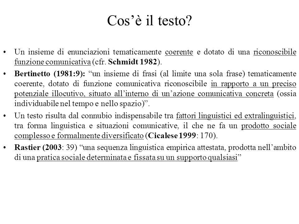 Cosè il testo? Un insieme di enunciazioni tematicamente coerente e dotato di una riconoscibile funzione comunicativa (cfr. Schmidt 1982). Bertinetto (