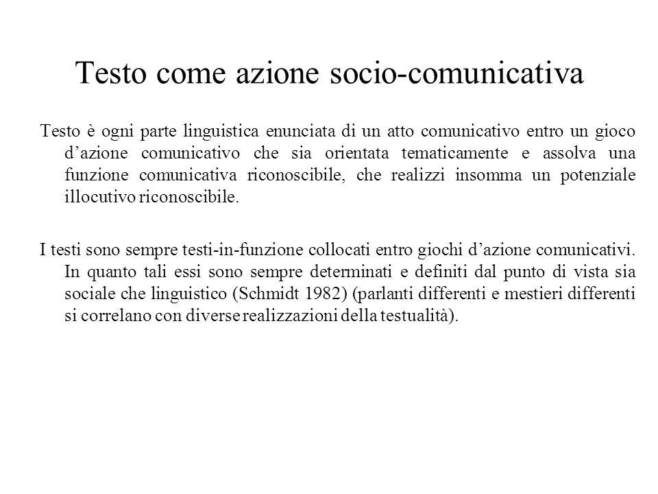 Testo come azione socio-comunicativa Testo è ogni parte linguistica enunciata di un atto comunicativo entro un gioco dazione comunicativo che sia orie