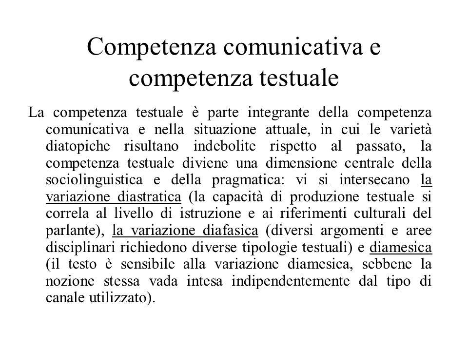 Competenza comunicativa e competenza testuale La competenza testuale è parte integrante della competenza comunicativa e nella situazione attuale, in c