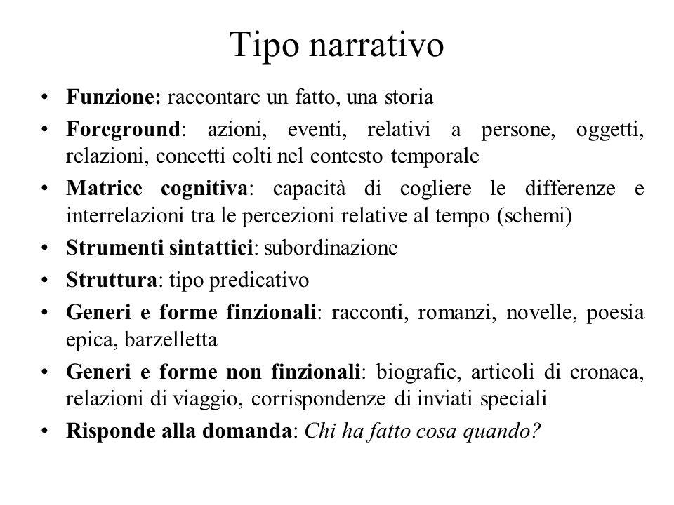 Tipo narrativo Funzione: raccontare un fatto, una storia Foreground: azioni, eventi, relativi a persone, oggetti, relazioni, concetti colti nel contes