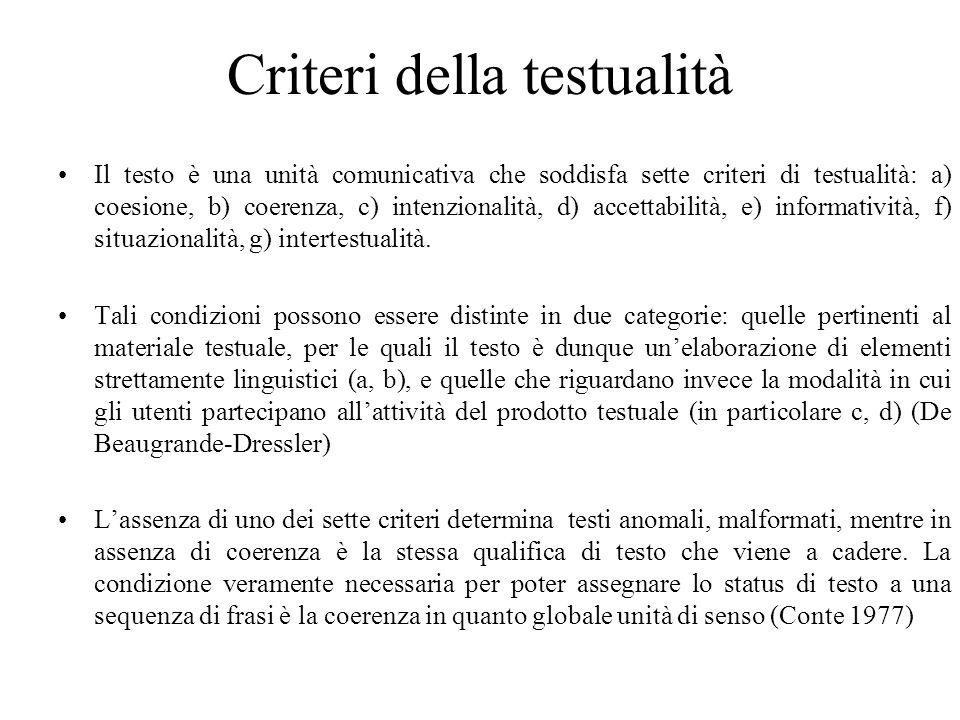 Criteri della testualità Il testo è una unità comunicativa che soddisfa sette criteri di testualità: a) coesione, b) coerenza, c) intenzionalità, d) a