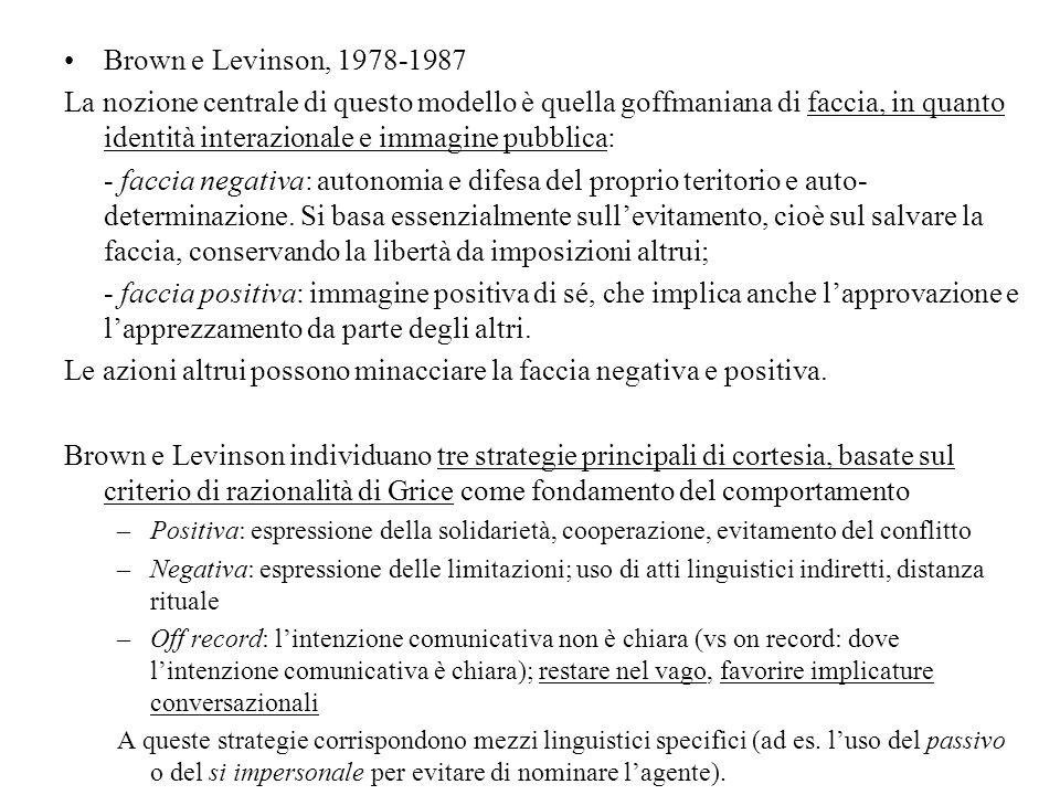 Brown e Levinson, 1978-1987 La nozione centrale di questo modello è quella goffmaniana di faccia, in quanto identità interazionale e immagine pubblica