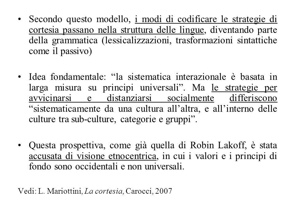 Secondo questo modello, i modi di codificare le strategie di cortesia passano nella struttura delle lingue, diventando parte della grammatica (lessica