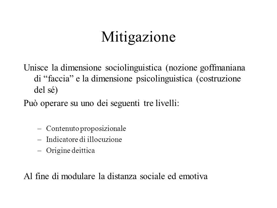 Mitigazione Unisce la dimensione sociolinguistica (nozione goffmaniana di faccia e la dimensione psicolinguistica (costruzione del sé) Può operare su