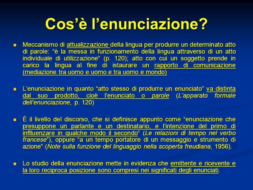 Cosè lenunciazione? Meccanismo di attualizzazione della lingua per produrre un determinato atto di parole: è la messa in funzionamento della lingua at