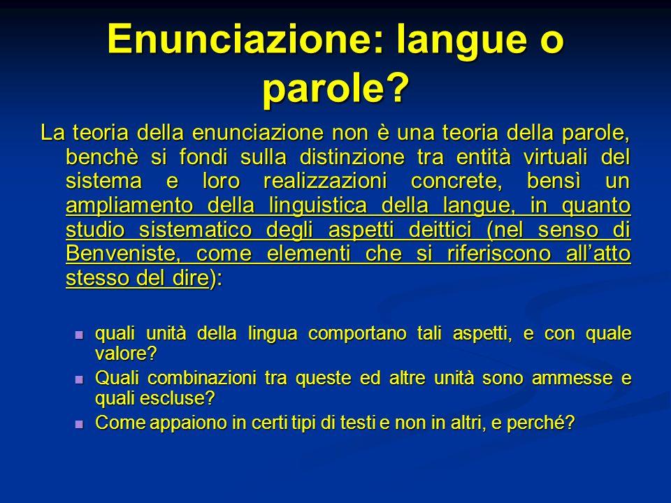 Enunciazione: langue o parole? La teoria della enunciazione non è una teoria della parole, benchè si fondi sulla distinzione tra entità virtuali del s