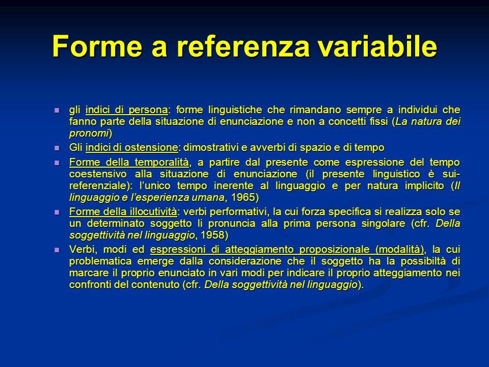 Forme a referenza variabile gli indici di persona: forme linguistiche che rimandano sempre a individui che fanno parte della situazione di enunciazion