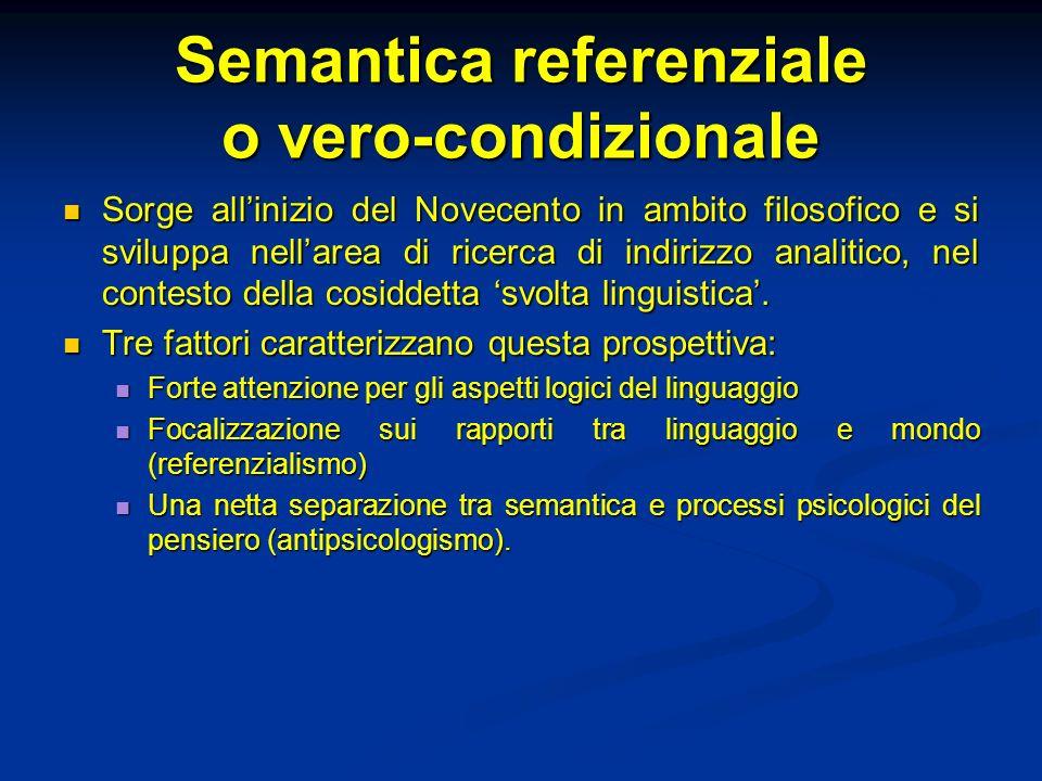 Semantica referenziale o vero-condizionale Sorge allinizio del Novecento in ambito filosofico e si sviluppa nellarea di ricerca di indirizzo analitico