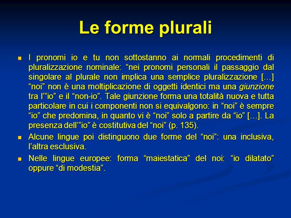 Le forme plurali I pronomi io e tu non sottostanno ai normali procedimenti di pluralizzazione nominale: nei pronomi personali il passaggio dal singola