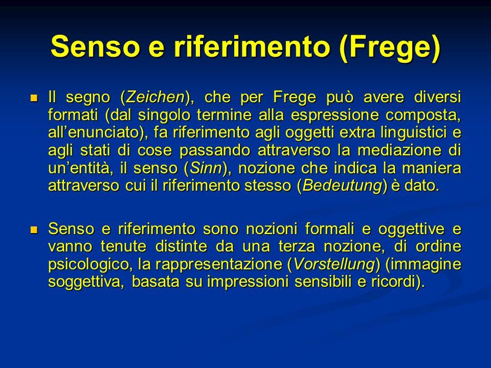 Senso e riferimento (Frege) Il segno (Zeichen), che per Frege può avere diversi formati (dal singolo termine alla espressione composta, allenunciato),