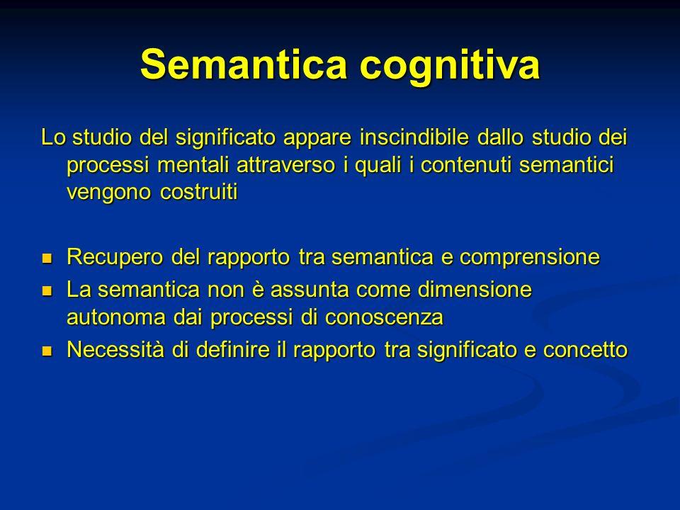 Semantica cognitiva Lo studio del significato appare inscindibile dallo studio dei processi mentali attraverso i quali i contenuti semantici vengono c