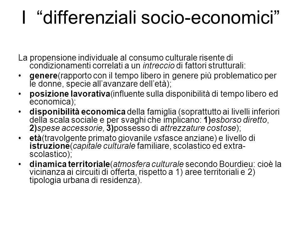 I differenziali socio-economici La propensione individuale al consumo culturale risente di condizionamenti correlati a un intreccio di fattori struttu