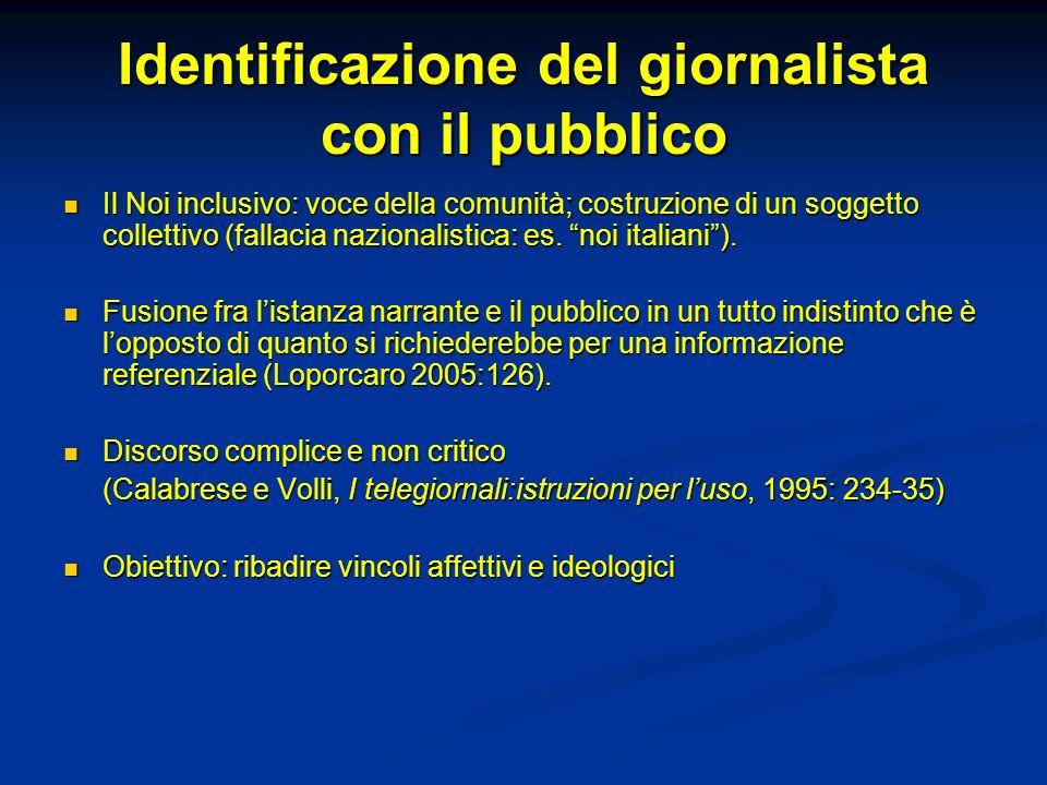 Identificazione del giornalista con il pubblico Il Noi inclusivo: voce della comunità; costruzione di un soggetto collettivo (fallacia nazionalistica: