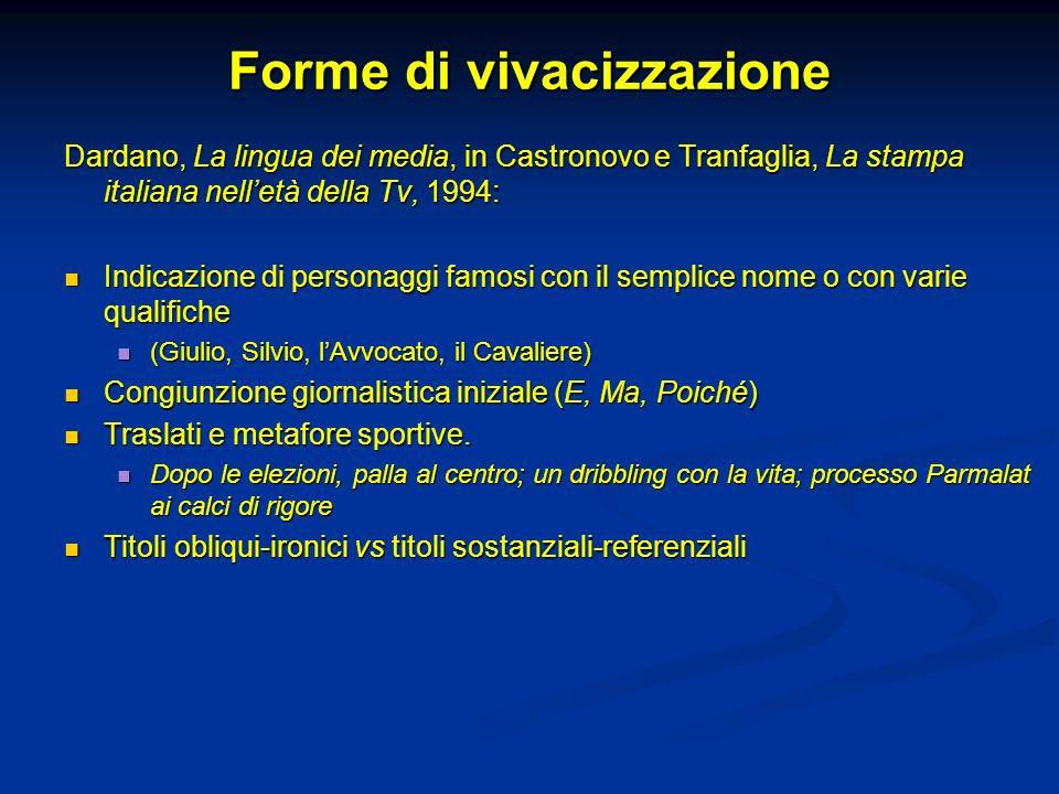 Forme di vivacizzazione Dardano, La lingua dei media, in Castronovo e Tranfaglia, La stampa italiana nelletà della Tv, 1994: Indicazione di personaggi
