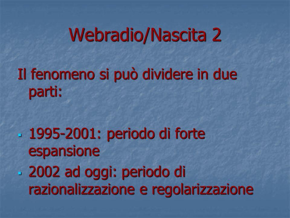 Webradio/Nascita 2 Il fenomeno si può dividere in due parti: 1995-2001: periodo di forte espansione 1995-2001: periodo di forte espansione 2002 ad oggi: periodo di razionalizzazione e regolarizzazione 2002 ad oggi: periodo di razionalizzazione e regolarizzazione