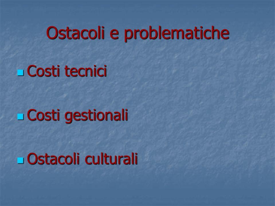 Ostacoli e problematiche Costi tecnici Costi tecnici Costi gestionali Costi gestionali Ostacoli culturali Ostacoli culturali
