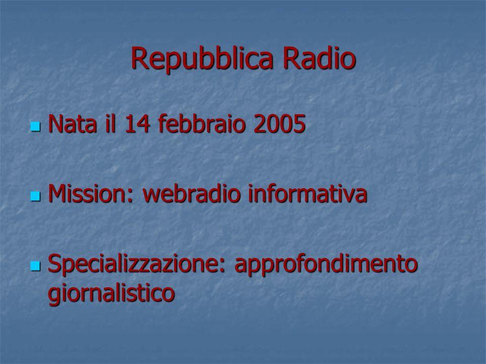Repubblica Radio Nata il 14 febbraio 2005 Nata il 14 febbraio 2005 Mission: webradio informativa Mission: webradio informativa Specializzazione: approfondimento giornalistico Specializzazione: approfondimento giornalistico