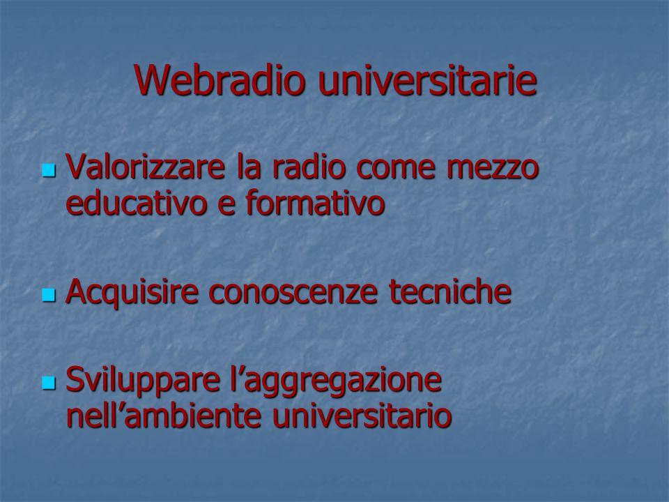 Webradio universitarie Valorizzare la radio come mezzo educativo e formativo Valorizzare la radio come mezzo educativo e formativo Acquisire conoscenze tecniche Acquisire conoscenze tecniche Sviluppare laggregazione nellambiente universitario Sviluppare laggregazione nellambiente universitario
