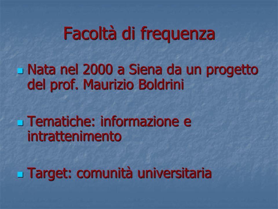 Facoltà di frequenza Nata nel 2000 a Siena da un progetto del prof.