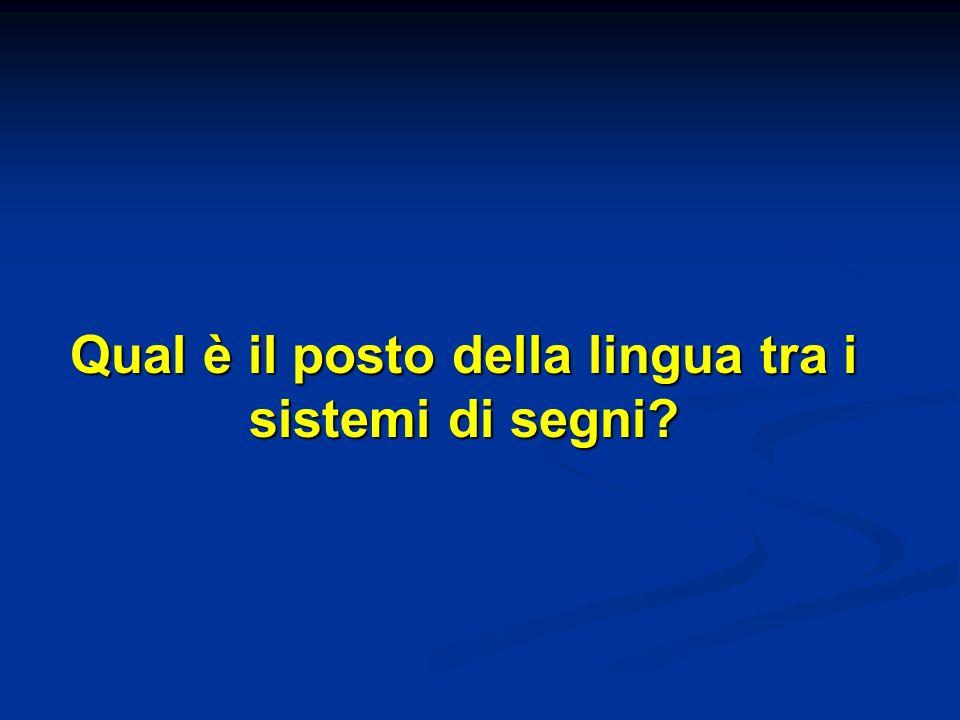Qual è il posto della lingua tra i sistemi di segni?