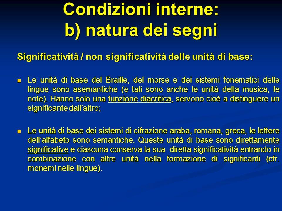 Condizioni interne: b) natura dei segni Significatività / non significatività delle unità di base: Le unità di base del Braille, del morse e dei siste