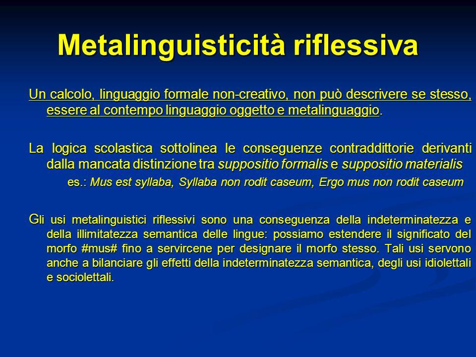 Metalinguisticità riflessiva Un calcolo, linguaggio formale non-creativo, non può descrivere se stesso, essere al contempo linguaggio oggetto e metali