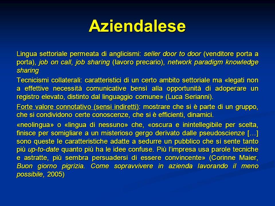 Aziendalese Lingua settoriale permeata di anglicismi: seller door to door (venditore porta a porta), job on call, job sharing (lavoro precario), netwo