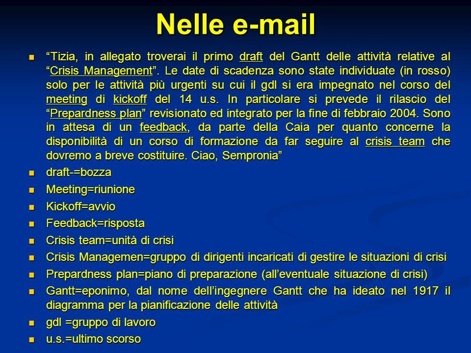Nelle e-mail Tizia, in allegato troverai il primo draft del Gantt delle attività relative alCrisis Management. Le date di scadenza sono state individu
