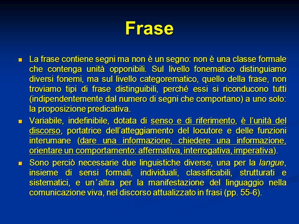 Frase La frase contiene segni ma non è un segno: non è una classe formale che contenga unità opponibili. Sul livello fonematico distinguiamo diversi f