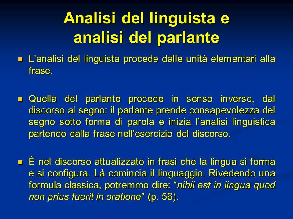Analisi del linguista e analisi del parlante Lanalisi del linguista procede dalle unità elementari alla frase. Lanalisi del linguista procede dalle un