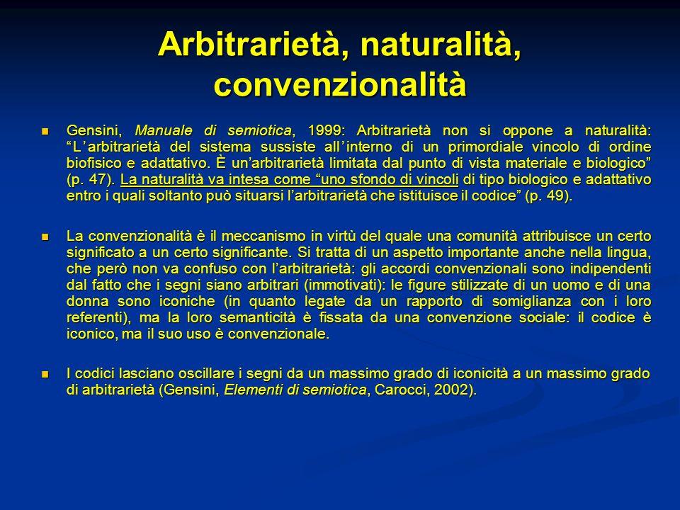 Arbitrarietà, naturalità, convenzionalità Gensini, Manuale di semiotica, 1999: Arbitrarietà non si oppone a naturalità:Larbitrarietà del sistema sussi