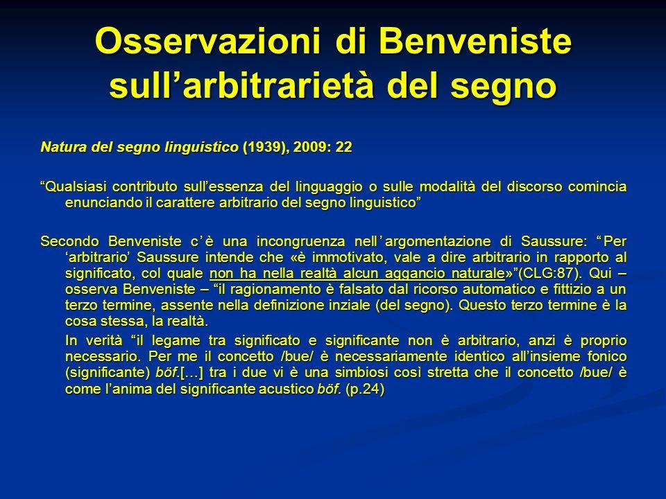 Osservazioni di Benveniste sullarbitrarietà del segno Natura del segno linguistico (1939), 2009: 22 Qualsiasi contributo sullessenza del linguaggio o