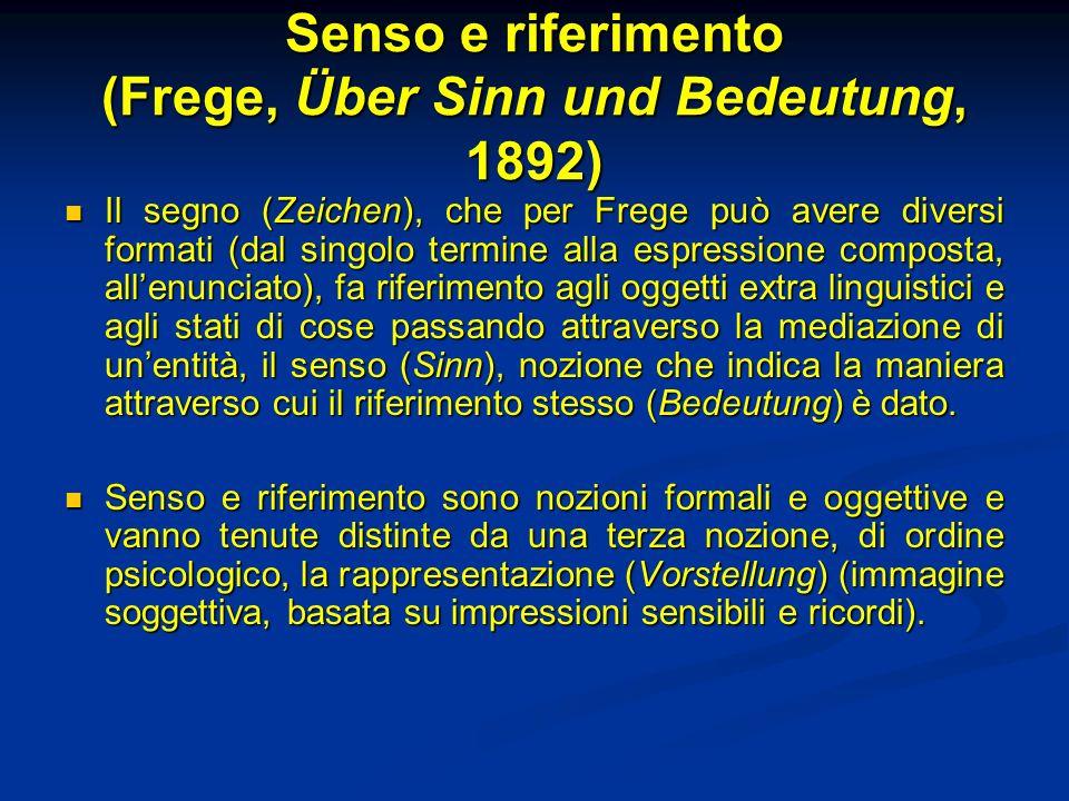Senso e riferimento (Frege, Über Sinn und Bedeutung, 1892) Il segno (Zeichen), che per Frege può avere diversi formati (dal singolo termine alla espre