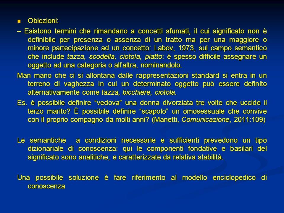 Obiezioni: Obiezioni: – Esistono termini che rimandano a concetti sfumati, il cui significato non è definibile per presenza o assenza di un tratto ma