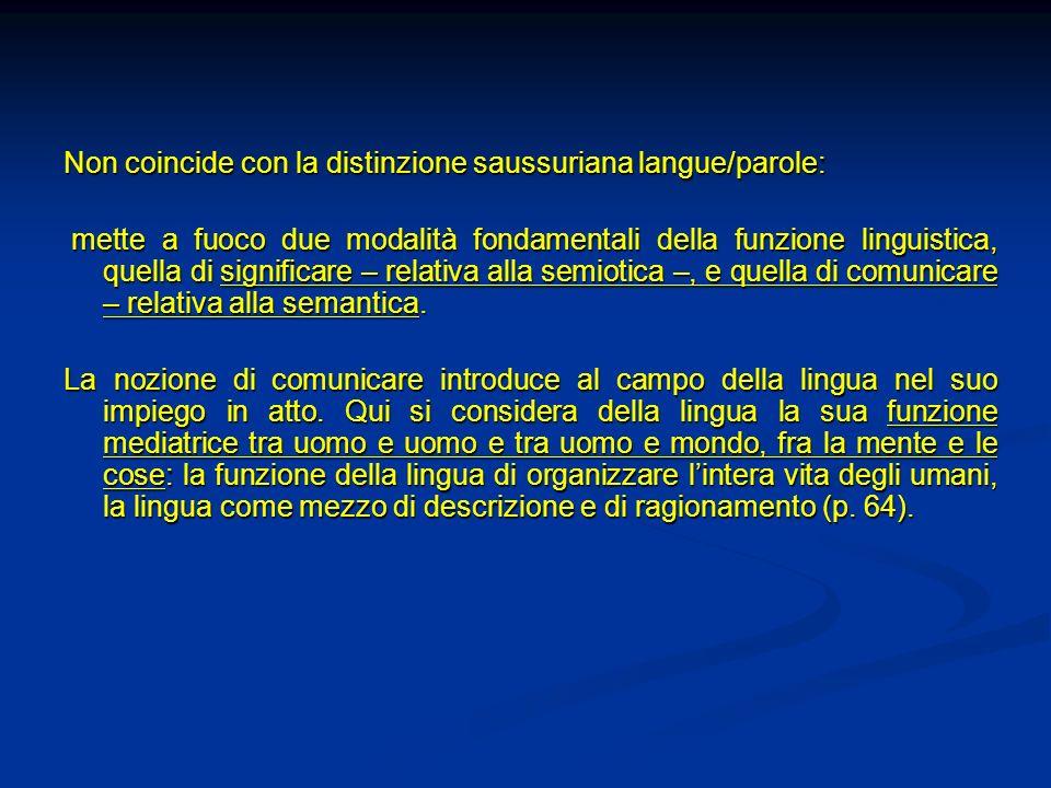Non coincide con la distinzione saussuriana langue/parole: mette a fuoco due modalità fondamentali della funzione linguistica, quella di significare –