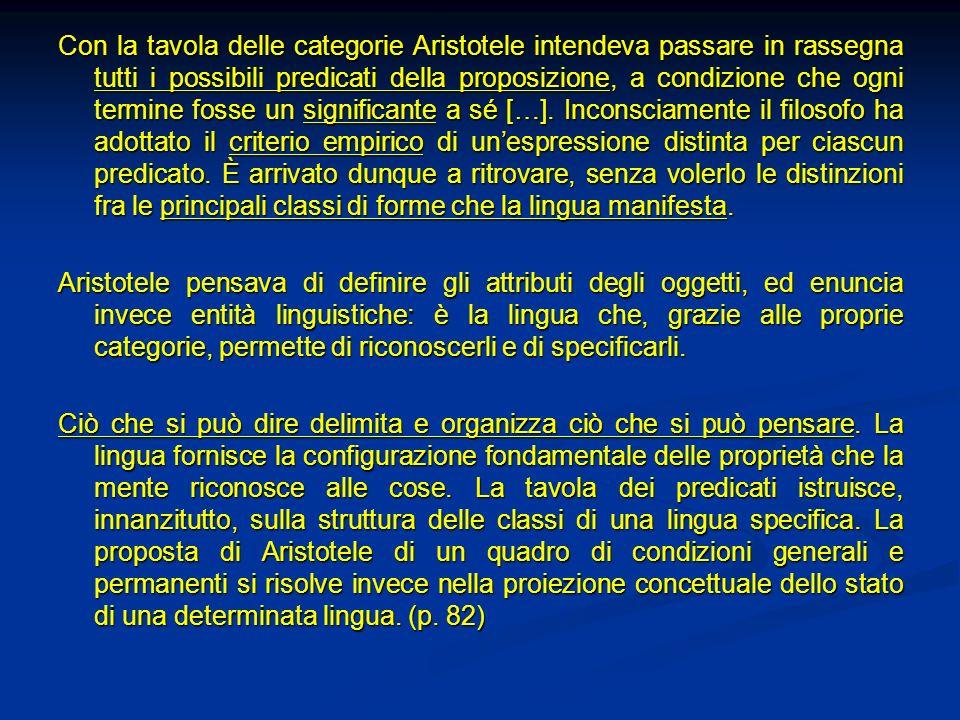 Con la tavola delle categorie Aristotele intendeva passare in rassegna tutti i possibili predicati della proposizione, a condizione che ogni termine f
