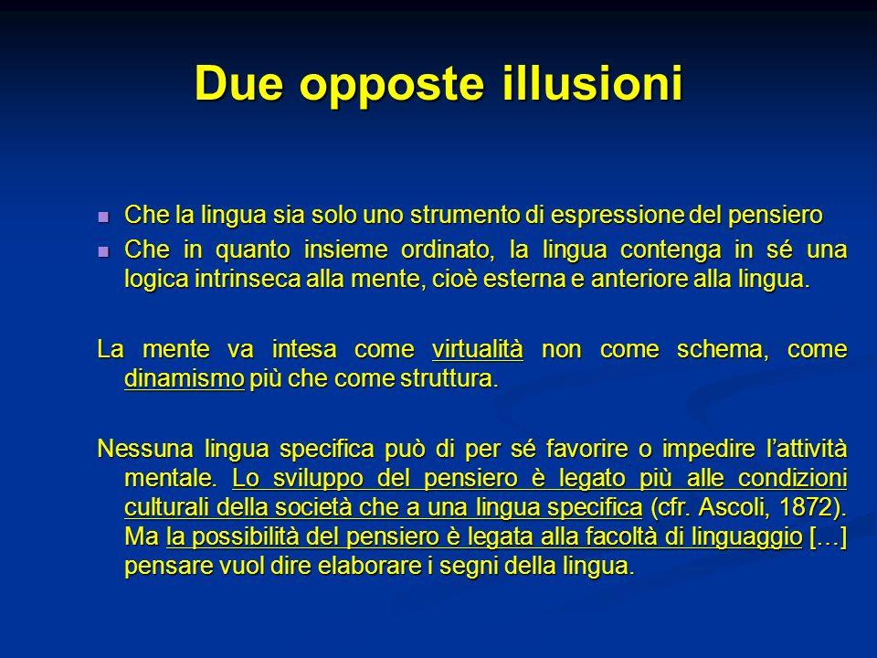 Due opposte illusioni Che la lingua sia solo uno strumento di espressione del pensiero Che la lingua sia solo uno strumento di espressione del pensier