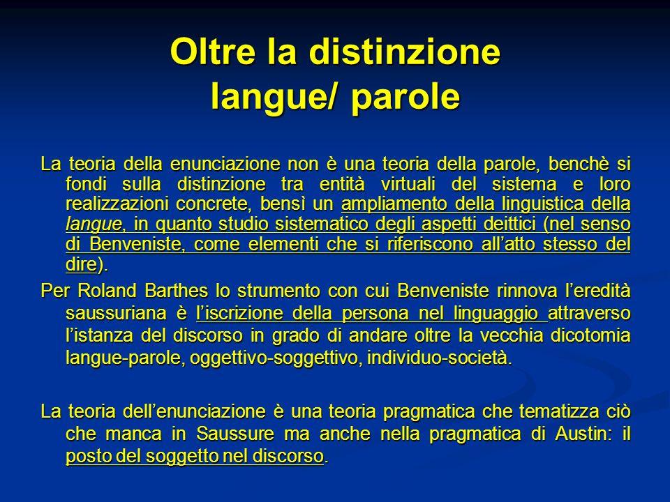 Oltre la distinzione langue/ parole La teoria della enunciazione non è una teoria della parole, benchè si fondi sulla distinzione tra entità virtuali