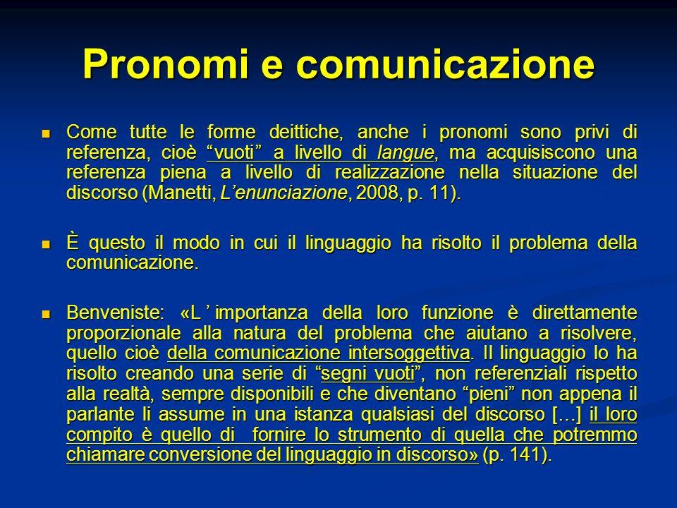 Pronomi e comunicazione Come tutte le forme deittiche, anche i pronomi sono privi di referenza, cioè vuoti a livello di langue, ma acquisiscono una re