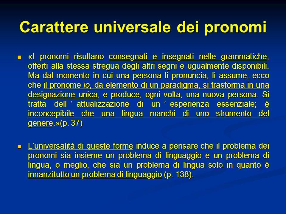 Carattere universale dei pronomi «I pronomi risultano consegnati e insegnati nelle grammatiche, offerti alla stessa stregua degli altri segni e ugualm