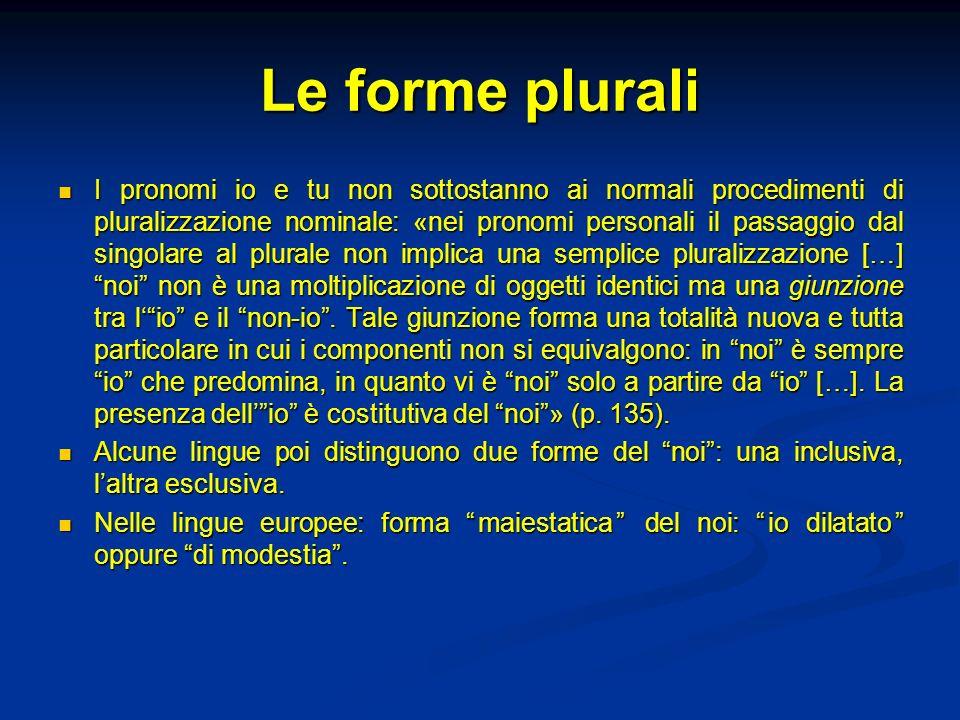 Le forme plurali I pronomi io e tu non sottostanno ai normali procedimenti di pluralizzazione nominale: «nei pronomi personali il passaggio dal singol