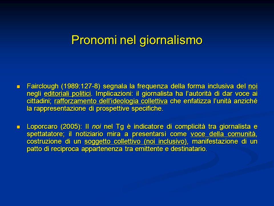 Pronomi nel giornalismo Fairclough (1989:127-8) segnala la frequenza della forma inclusiva del noi negli editoriali politici. Implicazioni: il giornal