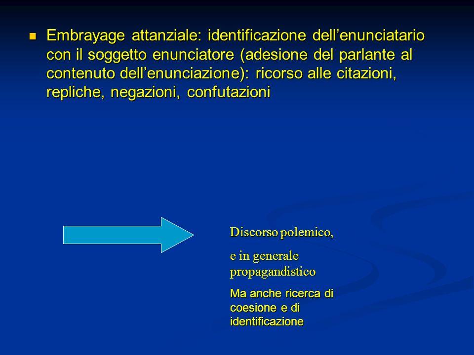 Embrayage attanziale: identificazione dellenunciatario con il soggetto enunciatore (adesione del parlante al contenuto dellenunciazione): ricorso alle