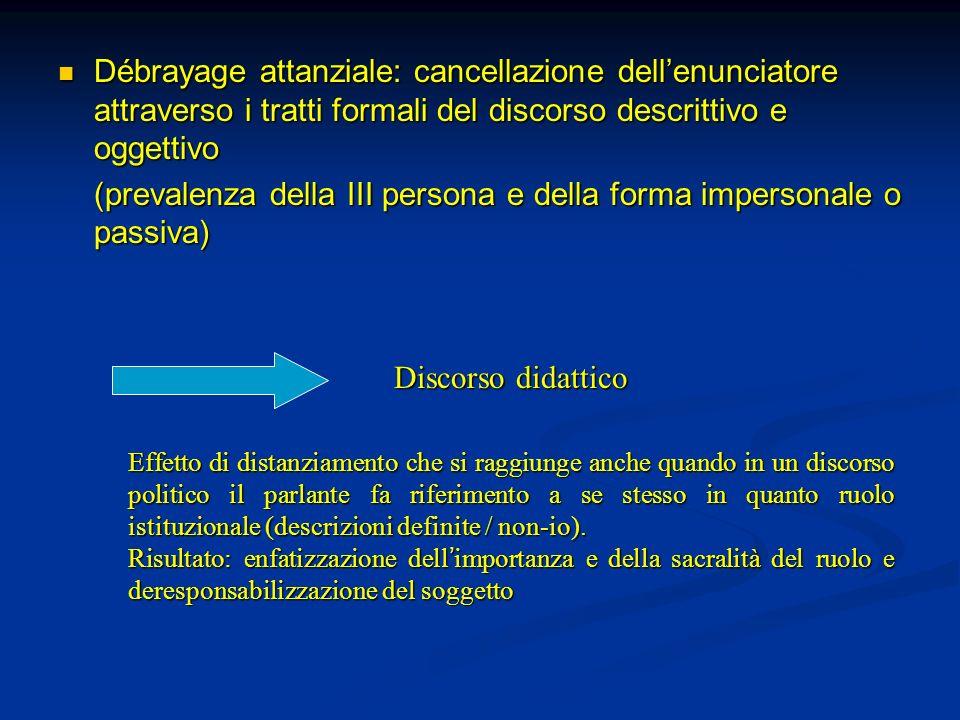 Débrayage attanziale: cancellazione dellenunciatore attraverso i tratti formali del discorso descrittivo e oggettivo Débrayage attanziale: cancellazio