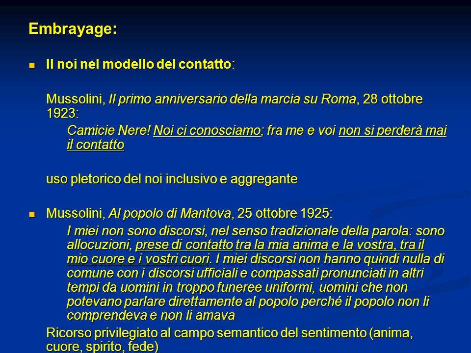 Embrayage: Il noi nel modello del contatto: Il noi nel modello del contatto: Mussolini, Il primo anniversario della marcia su Roma, 28 ottobre 1923: C